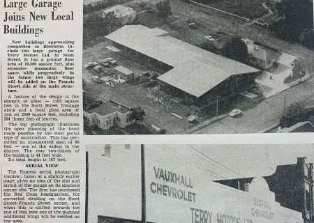 Marlborough Express article on Terry Motors new building 1963